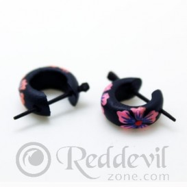 Wood Earrings - Pink flowers