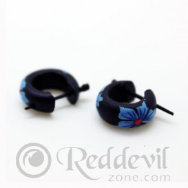 Wood Earrings - Blue flowers