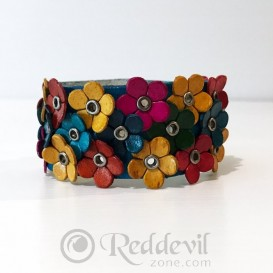 Flowered Leather bracelets