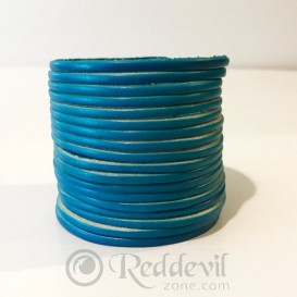 Leather bracelets light blue