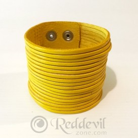 Leather bracelets yellow