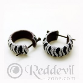 Wood Earrings Black/White